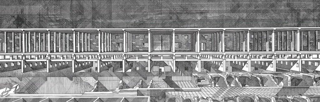 Franco Purini. Arrangement of the ruins of the Roman port of Testaccio, c. 1988