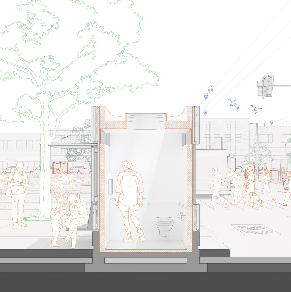 Design of the infrastructure of public toilets and kiosks in San Francisco
