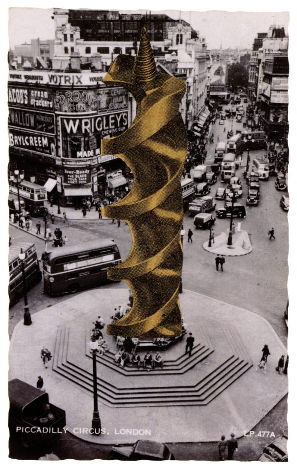 Drill bit in place of the Statue Eros, 1966