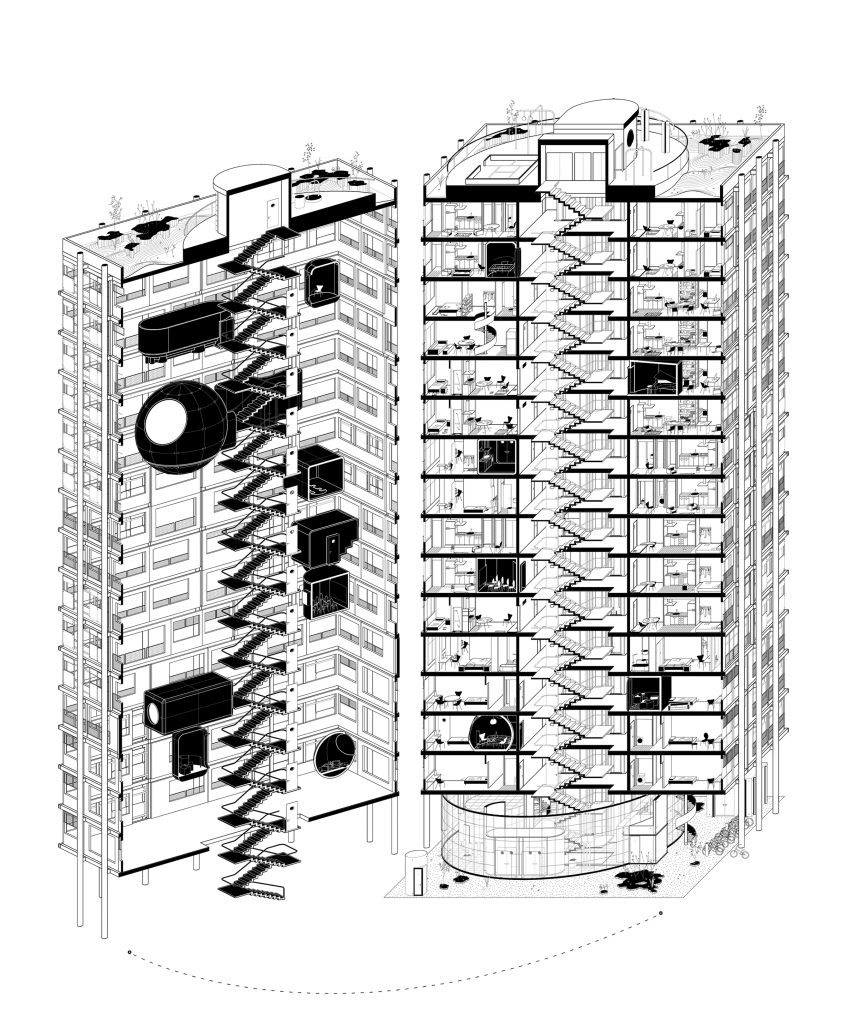 Cross-Sectioned Axonometric view of the Tower Building