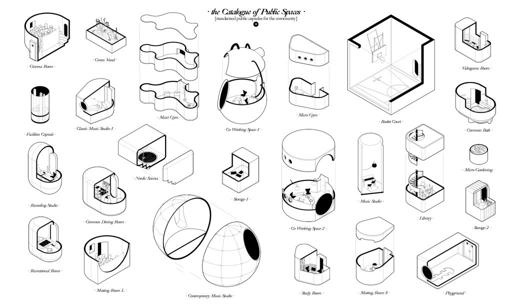 Catalogue of Public Spaces- Standardized public Capsules for the Community