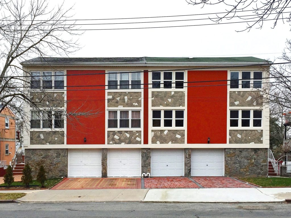 Red Panel Banners and Fieldstone Spandrels, Whitestone