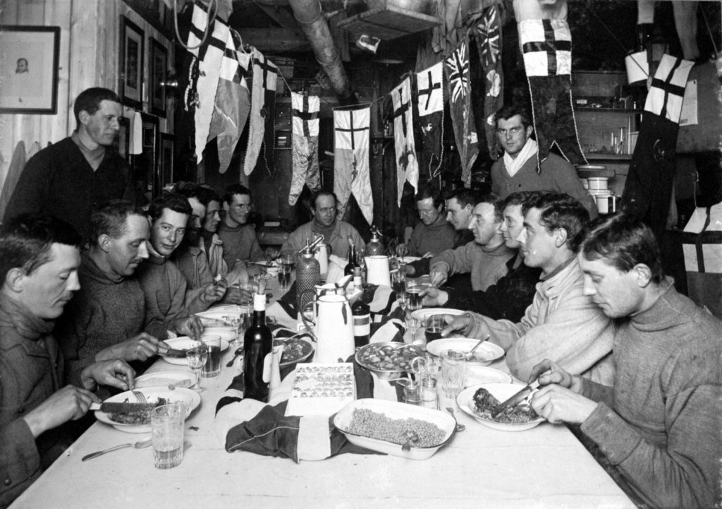 Captain Scott's birthday celebrations at Cape Evans [Image courtesy of Scott Polar Research Institute]
