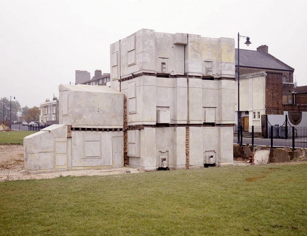Space is turned into a massive sculpture, its façades are removed. The rooms are visible, existent in themselves, but impossible to inhabit. [Rachel Whiteread, House, 1993]