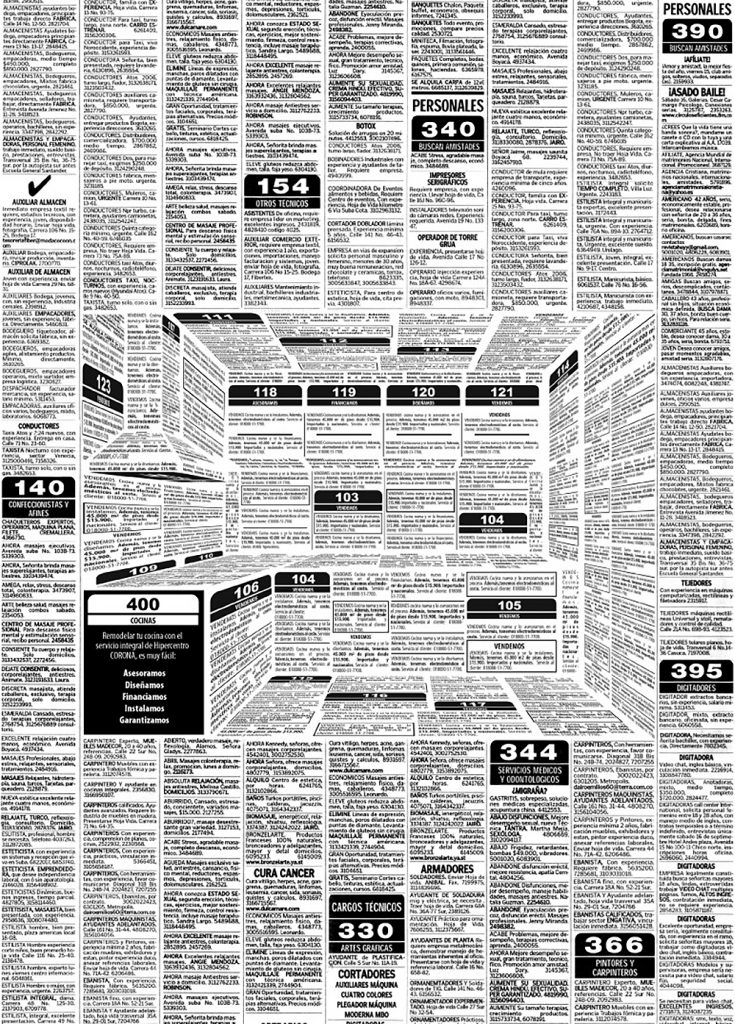 "A kitchen built out of ad words that advertises a kitchen manufacturer. [Sancho BBDO, ""The Kitchen you are imagining is in HiperCentro Corona"" - Advertising for Cocinas Corona camouflaged in the classified ads of a local newspaper, 2016]"