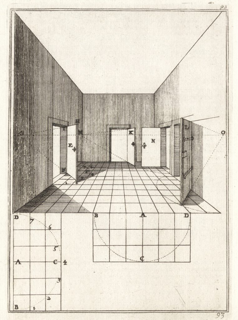 A how-to build the representation of a room [Jean DuBreuil, La perspective practique, 1642]