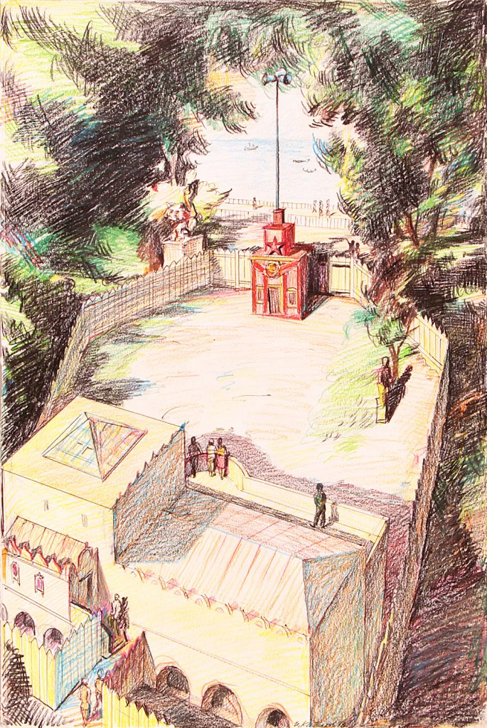 The Red Pavilion, 1993 Buntstift Coloured pencil 45.5 × 30.5 cm © Ilya and Emilia Kabakov