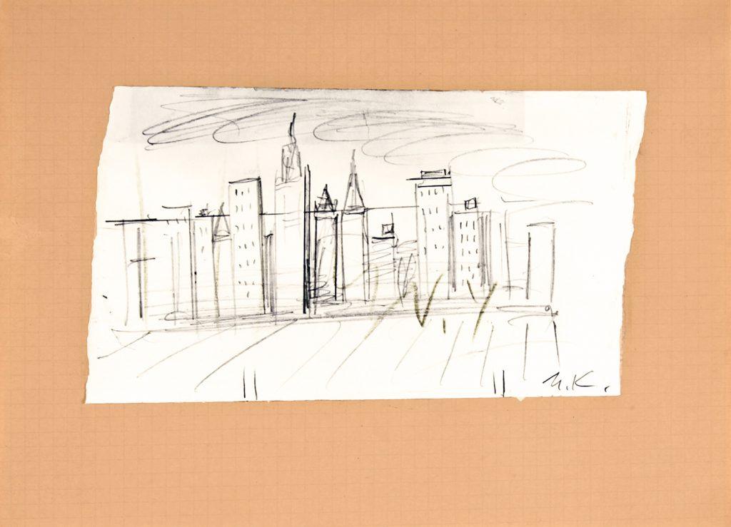 Monument to Lindberg (Sketch), 2001 Bleistift Black pencil 15 × 21 cm © Ilya and Emilia Kabakov