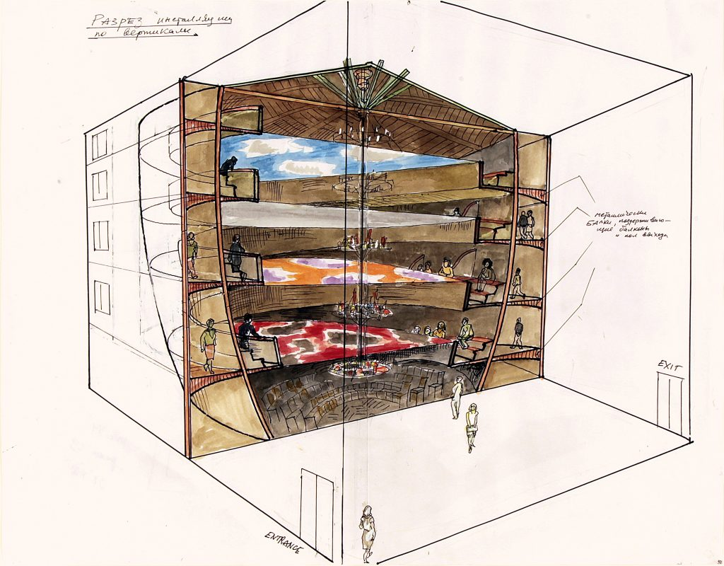 Vertical Opera (Guggenheim) Schnittzeichnung / Section Drawing Aquarell, Tusche, Bleistift Watercolour, black ink, pencil 43 × 55 cm © Ilya and Emilia Kabakov
