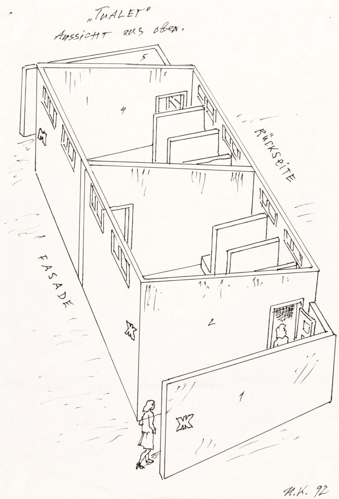 The Toilet, 1992 Tusche Black ink 28 × 19 cm © Ilya and Emilia Kabakov