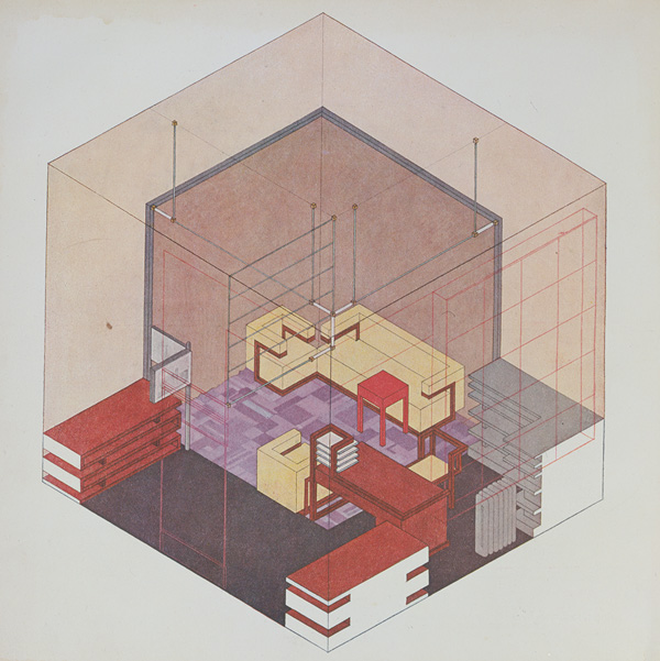 Isometric Rendering Of The Director's Office In Bauhaus