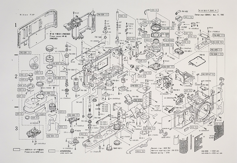 """F-3 Exploded Schematic"". Parts List"