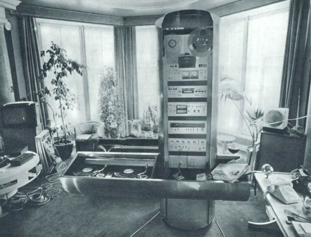 A gigantic Hi-Fi system designed by Robin Cruikshank and  Ringo Starr (ex Beatle), for ROR/Hi-Fi of London,The unit was commissioned by the Sultan of Oman, London, 1975. Photo credits:  Domus archive